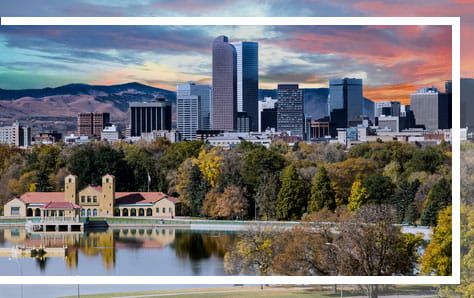 Denver lake and skyline view, home of Pri-Med's CME conference in Denver, CO