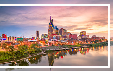 Downtown Nashville skyline with riverview, home of Pri-Med's CME conference in Nashville, TN