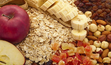 fruit, nuts, and grains