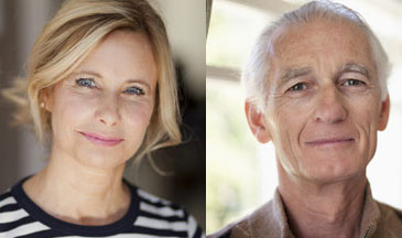 40 year old woman and 60 year old man smiling